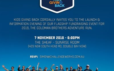 Please join us at the Kids Giving Back-Goldman Brothers Adventure Run launch!